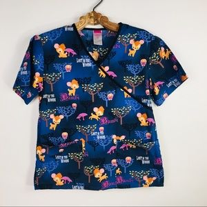 Disney Scrub Top Lost in the Woods Bambi XS